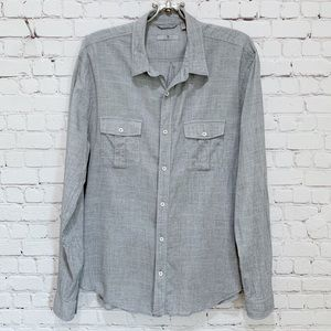 7 For All Mankind Button Down Long Sleeve Shirt L